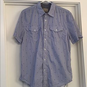 Men's Short Sleeve Striped Button Up Bicycle Print